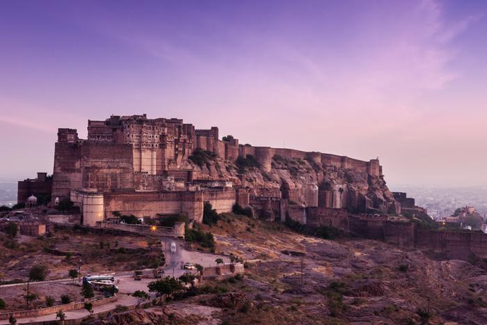 Mehrangarh Fort in twilight on sunset, Jodhpur, Rajasthan, India